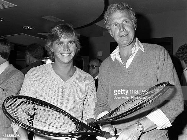 Actors Christopher Atkins and Wayne Rogers at a party honoring Actor Charlton Heston as the host of a tennis tournament benefiting the American Film...