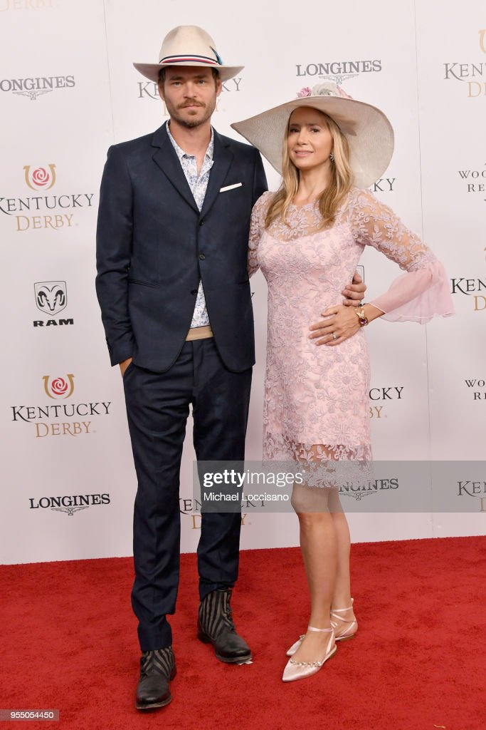 Actors Christopher Backus and Mira Sorvino attend Kentucky Derby 144 on May 5, 2018 in Louisville, Kentucky.