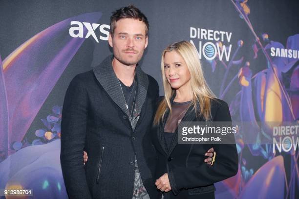 Actors Christopher Backus and Mira Sorvino attend the 2018 DIRECTV NOW Super Saturday Night Concert at NOMADIC LIVE at The Armory on February 3 2018...