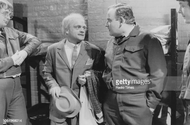 Actors Christopher Biggins David Jason Ronnie Barker and Richard Beckinsale in a scene from episode 'Pardon Me' of the television sitcom 'Porridge'...