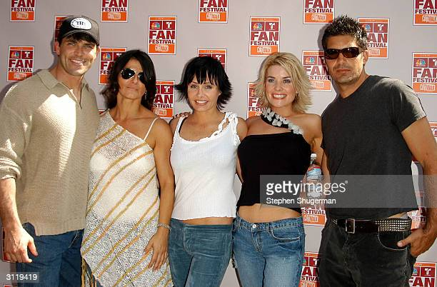 Actors Christopher Douglas, Eva Tamargo, Kelli McCarty, McKenzie Westmore, and Galen Gering pose during the second day of NBC's Fan Festival 2004...