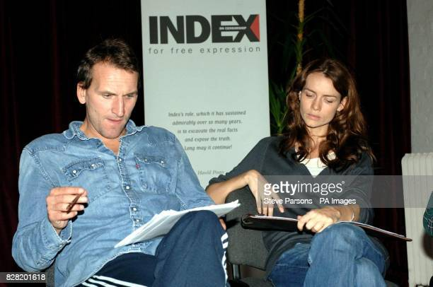 Actors Christopher Eccleston and Saffron Burrows prepare for the forthcoming production of 'Night Sky' with a rehearsal reading in aid of Index on...
