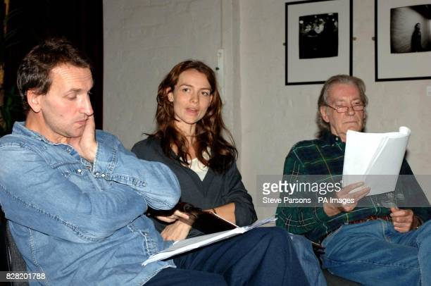 Actors Christopher Eccleston Saffron Burrows and David Warner prepare for the forthcoming production of 'Night Sky' with a rehearsal reading in aid...