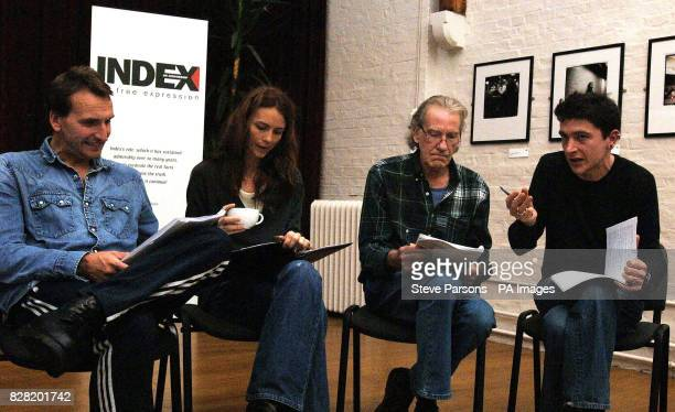 Actors Christopher Eccleston Saffron Burrows and David Warner with Director Gari Jones prepare for the forthcoming production of 'Night Sky' with a...