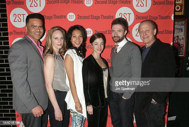 Actors Christopher Jackson Lisa Emery Maureen Sebastian Olivia Thirlby Topher Grace and Mark Blum attend the Lonely I'm Not OffBroadway opening night...