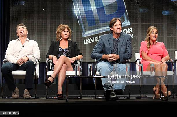 Actors Christopher Knight Tracey Gold Kevin Sorbo and Nicole Eggert speak onstage at the 'Heartbreakers' panel during the Discovery Communications...