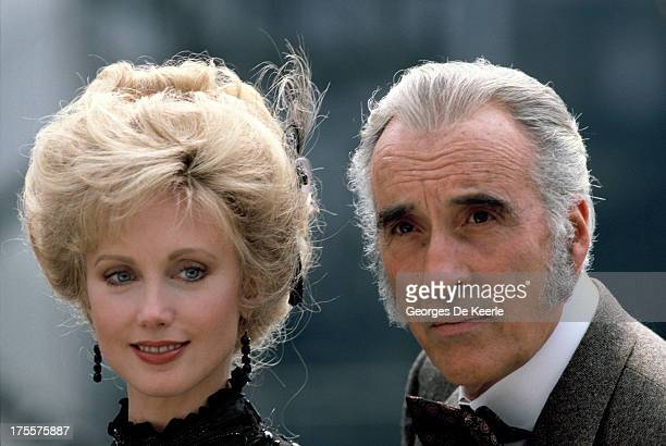 Actors Christopher Lee and Morgan Fairchild pose on a shoot for the TV movie 'Sherlock Holmes and the Leading Lady' on 1991 ca in London England