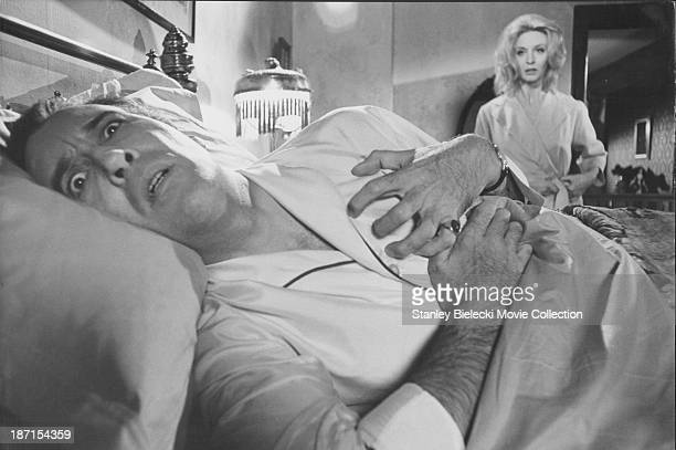 Actors Christopher Lee and Nyree Dawn Porter in a scene from the film 'The House That Dripped Blood' 1971