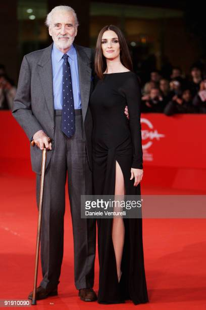 Actors Christopher Lee and Paz Vega attend the Triage Premiere during Day 1 of the 4th Rome International Film Festival held at the Auditorium Parco...