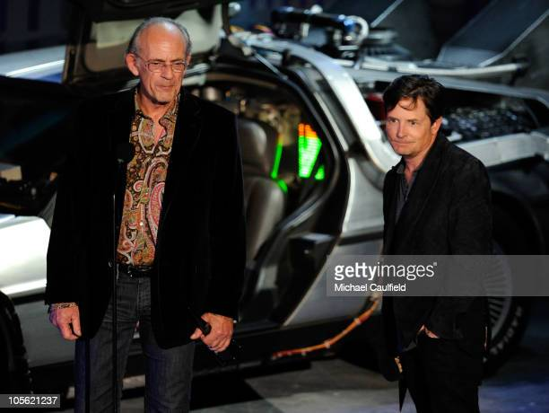 "Actors Christopher Lloyd and Michael J. Fox accept the Discretionary award onstage during Spike TV's ""Scream 2010"" at The Greek Theatre on October..."