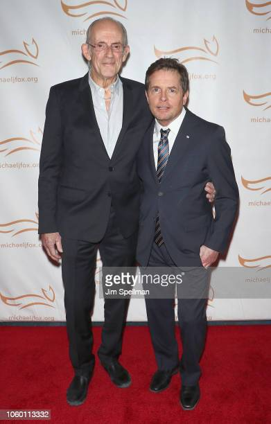 Actors Christopher Lloyd and Michael J Fox attend A Funny Thing Happened on the Way to Cure Parkinson's 2018 at the Hilton New York on November 10...