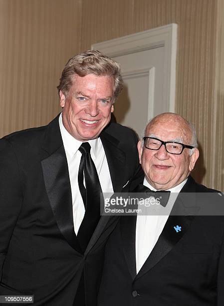 Actors Christopher McDonald and Ed Asner arrive at the 21st Annual Night of 100 Stars Awards Gala at Beverly Hills Hotel on February 27, 2011 in...