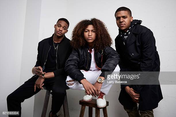 Actors Christopher Meyer Jahking Guillory and Christopher Jordan Wallace from 'Kicks' pose at the Tribeca Film Festival Getty Images Studio on April...