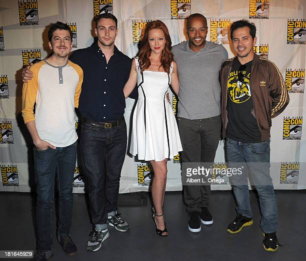 Actors Christopher MintzPlasse Aaron TaylorJohnson Lindy Booth Donald Faison and John Leguizamo attend The Universal Pictures panel featuring 'Kick...