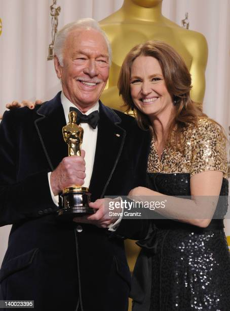 Actors Christopher Plummer and Melissa Leo pose in the press room at the 84th Annual Academy Awards held at the Hollywood Highland Center on February...