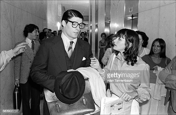 Actors Christopher Reeve and Margot Kidder filming a scene from 'Superman' at the Daily News Building New York New York July 7 1977