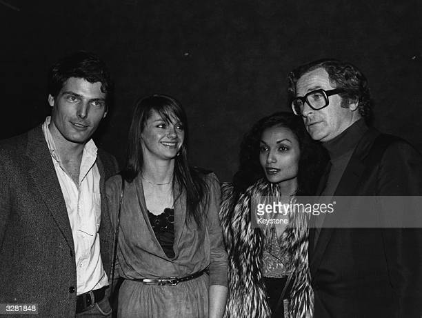Actors Christopher Reeve and Michael Caine with Caine's wife Shakira and Reeve's girlfriend Gae Exton at the premiere of the film 'Deathtrap' a...