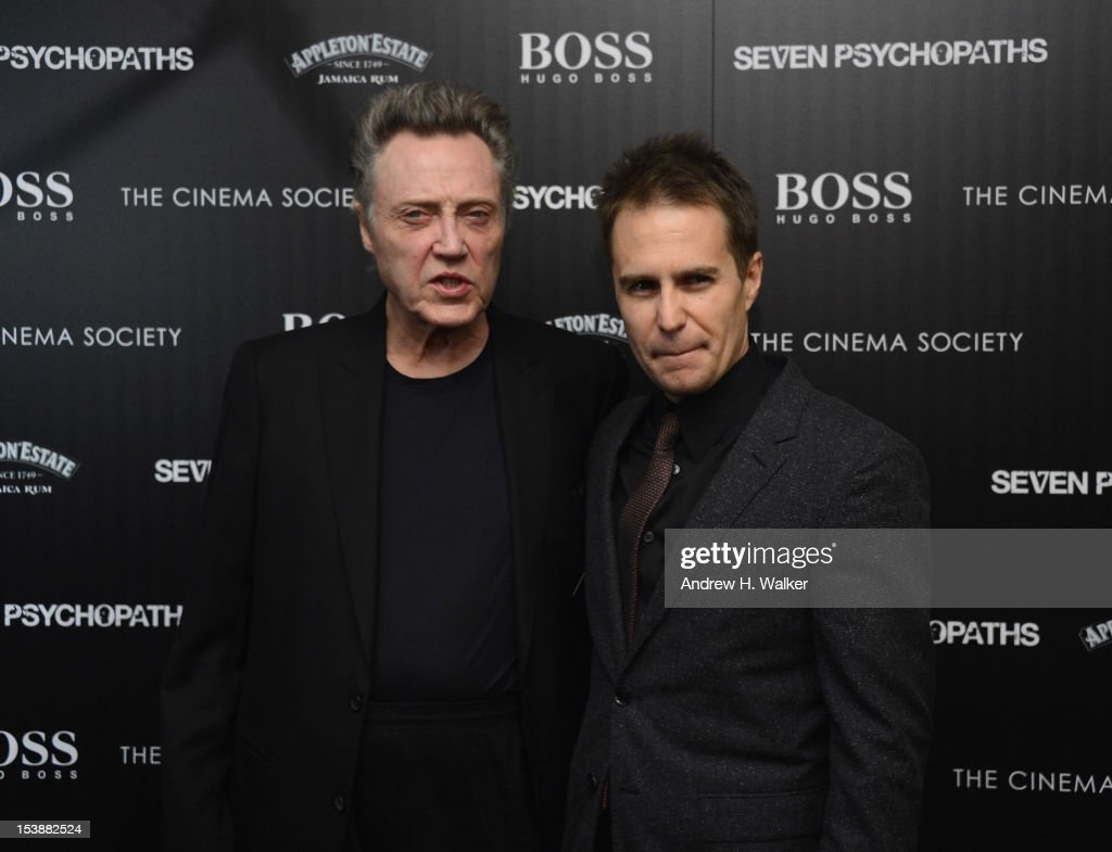 Actors Christopher Walken and Sam Rockwell attend The Cinema Society with Hugo Boss and Appleton Estate screening of 'Seven Psychopaths' at Clearview Chelsea Cinemas on October 10, 2012 in New York City.