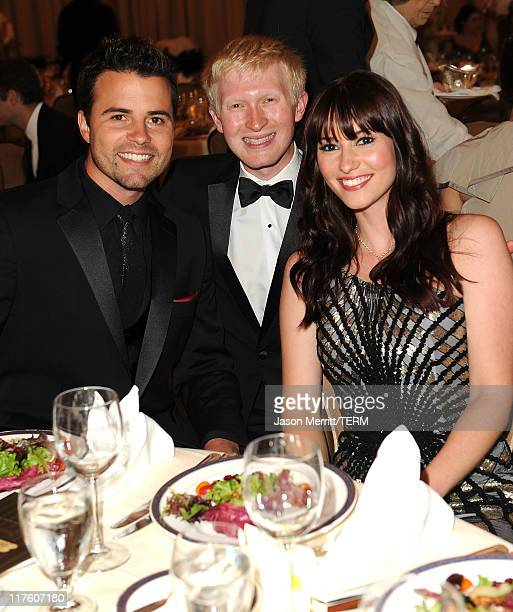 Actors Chyler Leigh and Nathan West pose with CEO Seth Maxwell at the 2nd Annual Thirst Project Gala at The Beverly Hilton hotel on June 28 2011 in...