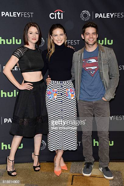 Actors Chyler Leigh Melissa Benoist and Jeremy Jordan arrive at The Paley Center For Media's 33rd Annual PALEYFEST Los Angeles 'Supergirl' at Dolby...
