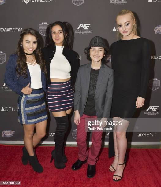 Actors Ciara A Wilson Amber Romero Hunter Payton and Savannah Kennick attend premiere of Agent on February 3 2017 in Los Angeles California