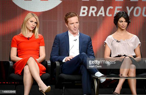 Actors Claire Danes Damian Lewis and Morena Baccarin speak at the 'Homeland' discussion panel during the Showtime portion of the 2012 Summer...