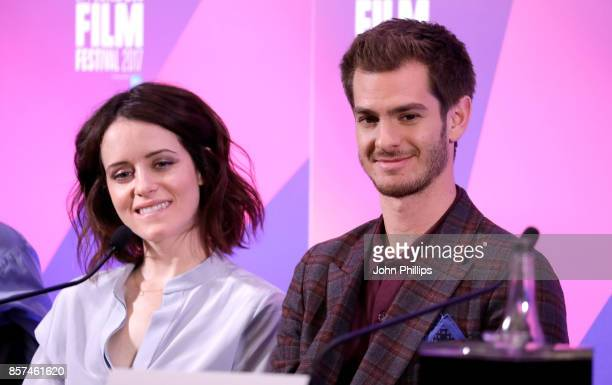 Actors Claire Foy and Andrew Garfield attend the press conference for 'Breathe' during the 61st BFI London Film Festival on October 4 2017 in London...