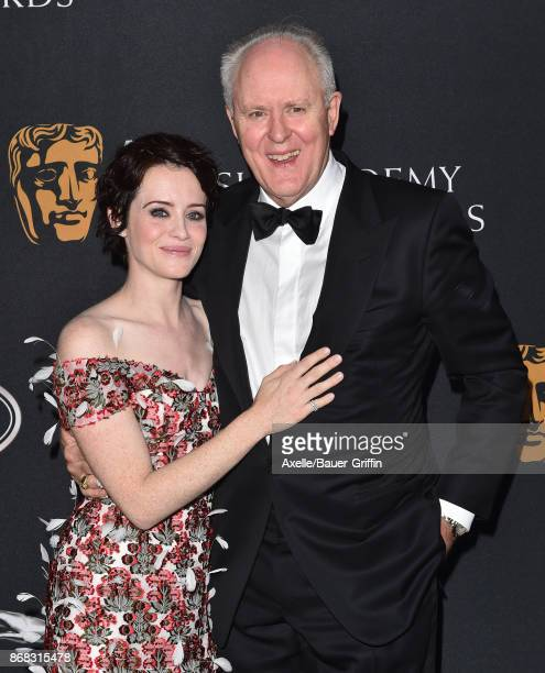 Actors Claire Foy and John Lithgow arrive at the 2017 AMD British Academy Britannia Awards at The Beverly Hilton Hotel on October 27, 2017 in Beverly...