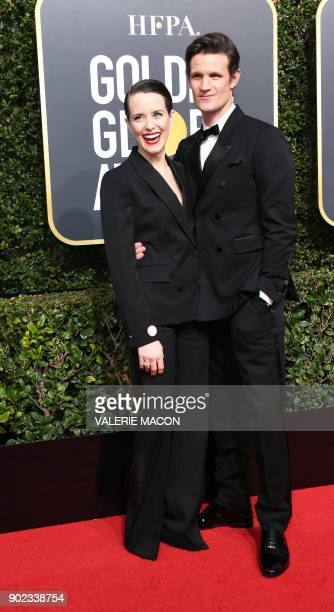Actors Claire Foy and Matt Smith arrive for the 75th Golden Globe Awards on January 7 in Beverly Hills California / AFP PHOTO / VALERIE MACON