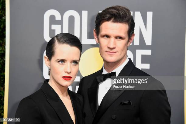 Actors Claire Foy and Matt Smith attend The 75th Annual Golden Globe Awards at The Beverly Hilton Hotel on January 7 2018 in Beverly Hills California