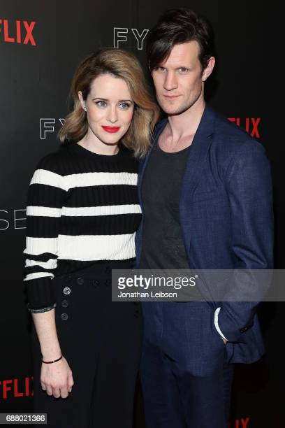 Actors Claire Foy and Matt Smith attend the Netflix's 'The Crown' For Your Consideration Event at Netflix FYSee Space on May 24 2017 in Beverly Hills...