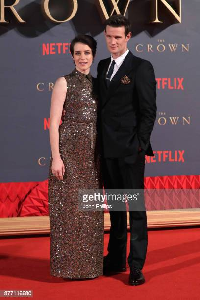 Actors Claire Foy and Matt Smith attend the World Premiere of season 2 of Netflix 'The Crown' at Odeon Leicester Square on November 21 2017 in London...