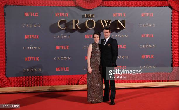 Actors Claire Foy and Matt Smith attend the World Premiere of season 2 of Netflix The Crown at Odeon Leicester Square on November 21 2017 in London...