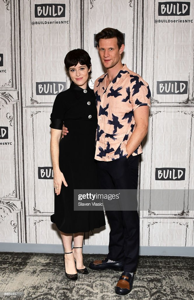 Actors Claire Foy and Matt Smith visit Build to discuss 'The Crown' at Build Studio on December 4, 2017 in New York City.