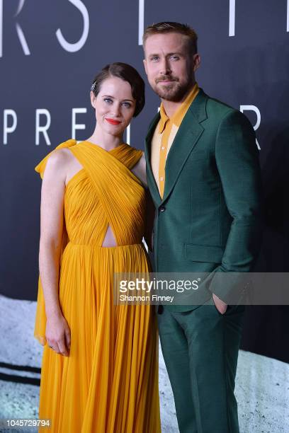 Actors Claire Foy and Ryan Gosling attend the First Man premiere at the National Air and Space Museum on October 4 2018 in Washington DC