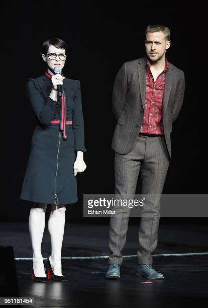 Actors Claire Foy and Ryan Gosling speak onstage during CinemaCon 2018 Universal Pictures Invites You to a Special Presentation Featuring Footage...