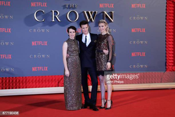 "Actors Claire Foy, Matt Smith and Vanessa Kirby attend the World Premiere of season 2 of Netflix ""The Crown"" at Odeon Leicester Square on November..."