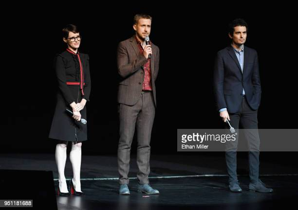 Actors Claire Foy Ryan Gosling and director Damien Chazelle speak onstage during CinemaCon 2018 Universal Pictures Invites You to a Special...