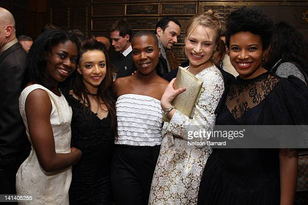 Actors Clara Gabrielle and Angelina Prendergast playwright Kenyetta Lethridge and actors Daphne Gabriel and Jameelah Nuriddin attend the opening...