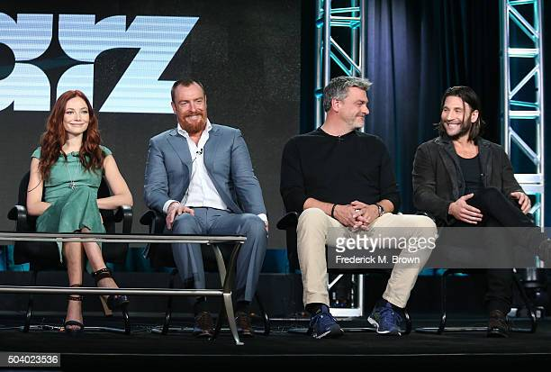 Actors Clara Paget Toby Stephens Ray Stevenson and Zach McGowan speak onstage during the Black Sails panel as part of the Starz portion of This is...