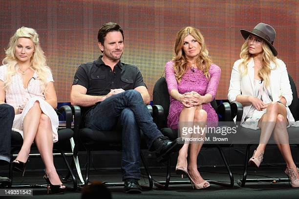 Actors Clare Bowen Charles Esten Connie Britton and Hayden Panettiere speak onstage at the 'Nashville' panel during the Disney/ABC Television Group...