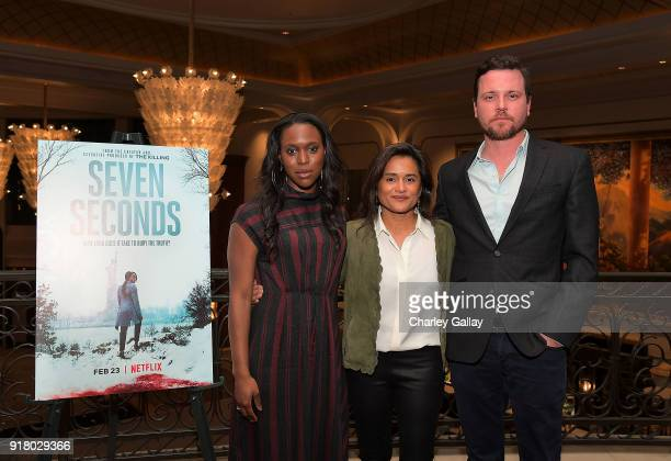Actors ClareHope Ashitey and Michael Mosley and creator and executive producer Veena Sud attend the Netflix and Color of Change special screening and...