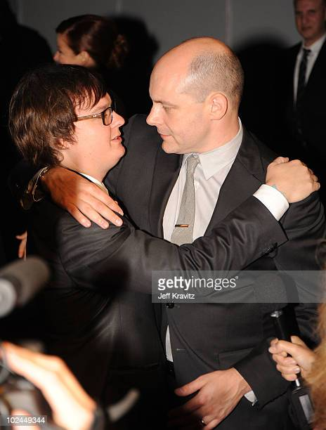 Actors Clark Duke and Rob Corddry arrive at the Hot Tub Time Machine Bluray and DVD launch party at the Kandyland V red carpet at the Playboy Mansion...