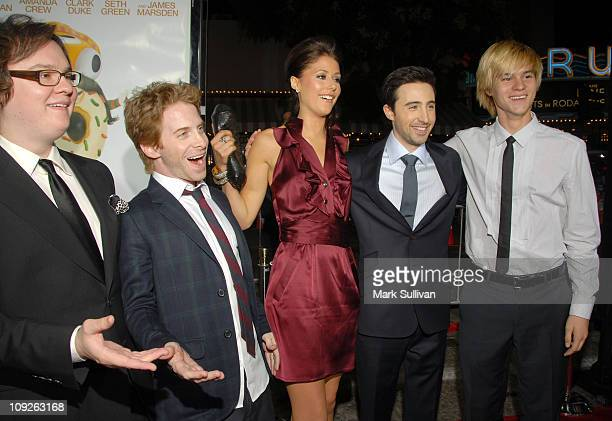 Actors Clark Duke Seth Green Amanda Crew Josh Zuckerman and Mark L Young arrive at the Los Angeles premiere of 'Sex Drive' on October 15 2008 in...