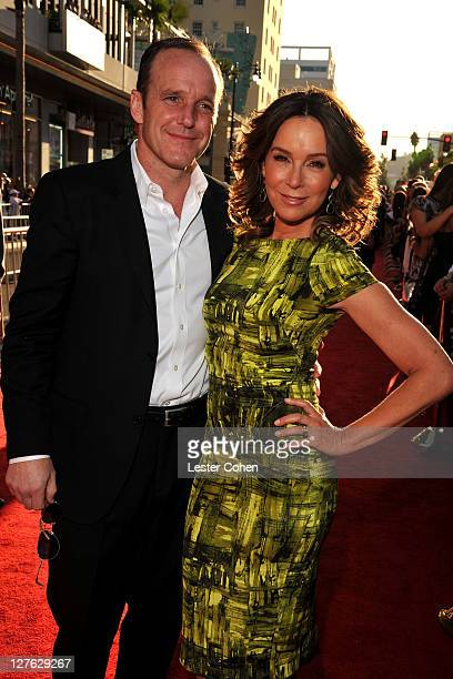 Actors Clark Gregg and Jennifer Grey arrive at the Los Angeles premiere of Thor at the El Capitan Theatre on May 2 2011 in Hollywood California