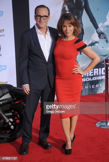 Actors Clark Gregg and Jennifer Grey arrive at the Los Angeles premiere of 'Captain America The Winter Soldier' at the El Capitan Theatre on March 13...