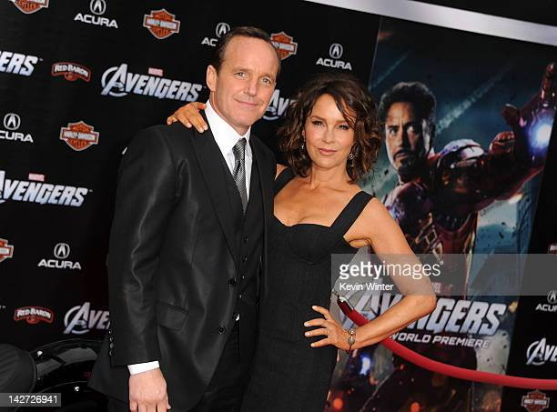 """Actors Clark Gregg and Jennifer Grey arrive at the premiere of Marvel Studios' """"The Avengers"""" at the El Capitan Theatre on April 11, 2012 in..."""