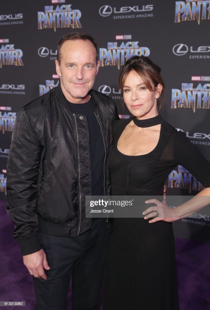 Actors Clark Gregg and Jennifer Grey at the Los Angeles World Premiere of Marvel Studios' BLACK PANTHER at Dolby Theatre on January 29, 2018 in Hollywood, California.