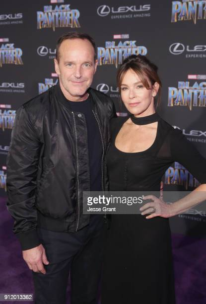 Actors Clark Gregg and Jennifer Grey at the Los Angeles World Premiere of Marvel Studios' BLACK PANTHER at Dolby Theatre on January 29 2018 in...