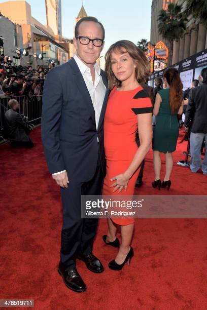 """Actors Clark Gregg and Jennifer Grey attend Marvel's """"Captain America: The Winter Soldier"""" premiere at the El Capitan Theatre on March 13, 2014 in..."""